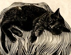 Illustration by Carl Harris, I'm ignoring you, linocut.