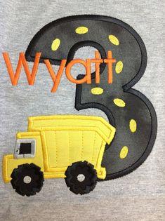 Greatstitch Dump Truck Construction Birthday Shirt 1st Birthday 2nd Birthday 3rd Birthday