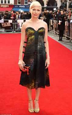 Stunning: Michelle Williams, 36,dazzled in a sparkling snake-skin chiffon gown as she attended the premiere of her new film Manchester By The Sea at the BFI London Film Festival on Saturday night