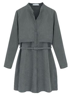 Pretty pure color long sleeve A-line dress MK-2080