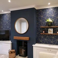 Navy Living Rooms, Blue Living Room Decor, Living Room Color Schemes, New Living Room, Living Room Designs, Living Area, Blue Feature Wall Living Room, Blue And Gold Living Room, Navy Blue Bedrooms