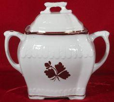 """John Edwards Peerless (Feather) Tea Leaf Ironstone Sugar Bowl, 6 ¼""""T, Reg. 1887 #JohnEdwards"""
