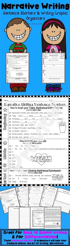 This set of differentiated sentence starters, drafting, graphic/writing organizers, and publishing templates will help your students master the skills necessary to meet the common core standards for narrative writing. These can be used for any topic/theme