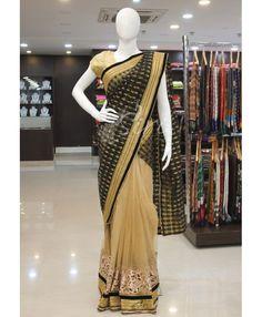 Black benarasi net and gold net patli pallu designer saree