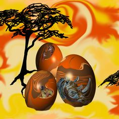 African_Easter_Eggs by Sylvie fabric by art_on_fabric. This design entered into the latest contest.. Painted Eggs., on Spoonflower
