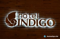 LED Backlit Signs With Mirror Polished Bronze Letter Shell For Hotel Indigo Backlit Signs, Led Signs, Wall Signs, Entrance Signage, Exterior Signage, Metal Signage, Restaurant Signage, Illuminated Signs, Letter Wall Art