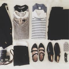 ✕ Packing for Paris. Embellished knit, striped tee, white oxford, chambray shirt, other collared shirts paired with black blazer, skirt and pants