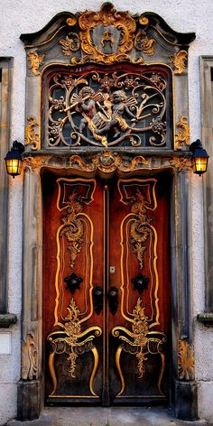 Gdansk, Poland (The carvings on the doors reminds me of whimsical tables with mirrors!) Amazing workmanship!