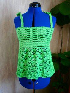 Top Bretelles coton vert, Mode, Hauts - PrimaCréa