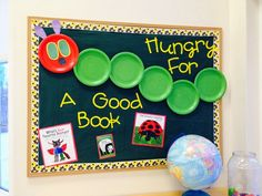 The Very Hungry Caterpillar bulletin board with paper plates from The Crafty Teacher