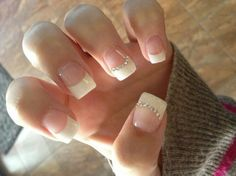French nails with rhinestones French Nails, Glitter French Manicure, French Pedicure, Glitter Nails, Silver Glitter, Silver Paint, Wedding Nails For Bride, Bride Nails, Prom Nails
