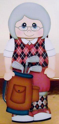 Card Gallery - 3D On the Shelf Card Kit - Little Golf Old Lady Murle