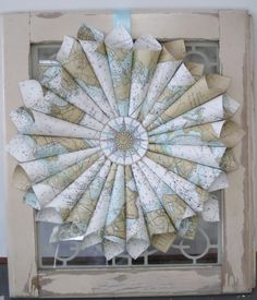 nautical_wreath - love the colors! Different than sheet music paper...