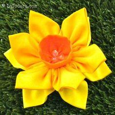 Kanzashi Flowers Pin Brooch Daffodil Pattern PDF Pattern | Etsy