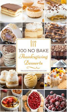 100 No Bake Thanksgiving Desserts - - Save some time this Thanksgiving with these delicious and easy no bake Thanksgiving desserts. No more scrambling to fit everything into the oven at the last second. These no bake desserts are effortless to make and. Mini Desserts, No Bake Desserts, Delicious Desserts, Dessert Recipes, Health Desserts, Dinner Recipes, Thanksgiving Desserts Easy, Holiday Desserts, Holiday Baking