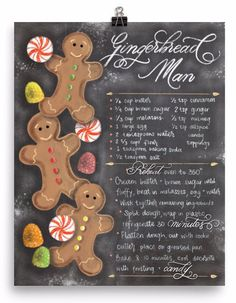 Adorable hand drawn gingerbread man art with faux calligraphy recipe. Perfect for Christmas festivities! Museum-quality posters made on thick, durable, matte paper. Printed on archival, acid-free pape