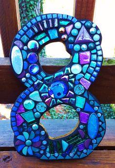 Custom mosaic house numbers created by Tina @ Wise Crackin' Mosaics