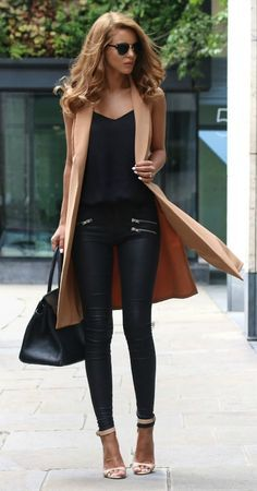 Black outfit with long camel coat