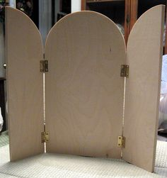 Unfinished-Wood-Arch-Tri-Fold-Hinged-Plaque-13-Tall