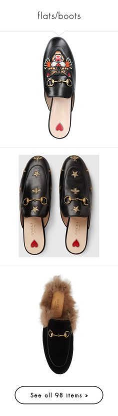 """""""flats/boots"""" by mrstomlinson974 on Polyvore featuring shoes, slippers, loafers, gucci mules, horsebit loafers, slip on mules, gucci loafers, slip on mule shoes, flats and gucci"""