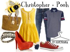 Disney Bound: Winnie the Pooh: Christopher and Pooh Disney Themed Outfits, Disney Dresses, Disney Clothes, Cute Disney, Disney Style, Cosplay Informal, Disneybound Outfits, Disney Inspired Fashion, Disney Fashion
