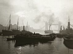 Shipping near Tower Bridge, c. 1910