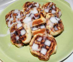 Cinnamon rolls in waffle maker.