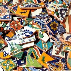Love that they sell broken talavera tiles by the pound so you can create mosaics :D