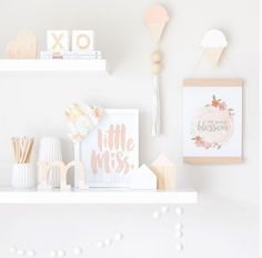 Big crush on this stylish, yet subtle shelfie for a little miss. Gorgeous selections indeed. Baby Bedroom, Baby Room Decor, Nursery Room, Nursery Decor, Girls Bedroom, Bedrooms, Baby Room Design, Nursery Design, Nursery Shelves