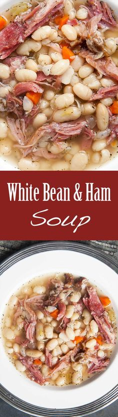 White Bean and Ham Soup Hearty white bean and ham soup. White Bean and Ham Soup Hearty white bean and ham soup perfect for cold winter days! White beans ham shanks onions celery carrots garlic Tabasco and herbs. White Bean Ham Soup, White Beans And Ham, Ham And Bean Soup, Soup Beans, Cooker Recipes, Soup Recipes, Dinner Recipes, Healthy Recipes, Meat Recipes