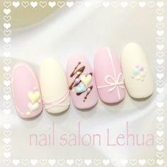 New Nails Design Valentines Ideas Nailart 26 Ideas Cute Gel Nails, Cute Nail Art, Cute Acrylic Nails, Easy Nail Art, My Nails, Kawaii Nails, Japanese Nails, Pastel Nails, Nail Manicure