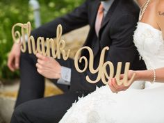 Wedding photo with thank you letters for cards. Trail Tan. Font: Almibar.