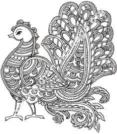 peacok in Kalamkari style