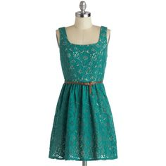 Lace to the City Dress ($42) ❤ liked on Polyvore featuring dresses, vestidos, robes, lace, a-line, belted, casual, green, solid and green color dress