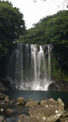 One of the falls at Cheonjeyeon Falls Jeju, South Korea