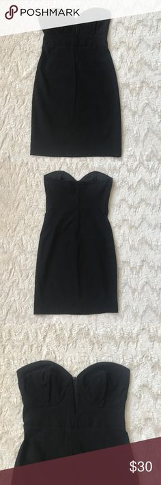 Lulus Deep V Black Strapless Dress Super sexy little black dress! I only wore it once, it's in great condition. Lulu's Dresses Mini