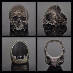Mokume Gane wood grain skull ring