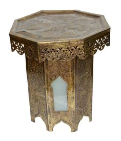 Moroccan Brass Side Table with White Glass - B-LT007,  (http://www.badiadesign.com/moroccan-brass-side-table-with-white-glass-b-lt007/)