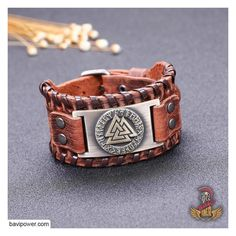 Copper ENXICO Odins Valknut with Runic Circle Amulet Leather Bangle Bracelet /♦ Nordic Scandinavian Viking Jewelry /♦ Brown