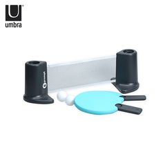 "Designed by Stephan Copeland. This portable table tennis set provides instant fun day or night, rain or shine, on any smooth surface, no mounting required! Set includes 2 paddles with retractable handles, portable net, 2 balls and drawstring pouch for storage and transport. Its weighted net can be set up on any smooth surface table up to 72""."