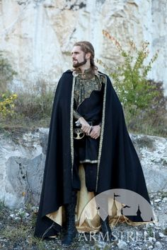 "Medieval Elven Prince Fantasy Lined Black Cloak ""Knight of the West"""