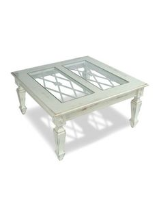 Dd Some Farmhouse Country Style To Your Home With The Avignon Cocktail Table.  It Features Detailed Legs And Lattice Work Under The Glass Top.