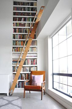 Tall White Built In Bookcase With Wood Rolling Library Ladder Sfbybay Bookshelf