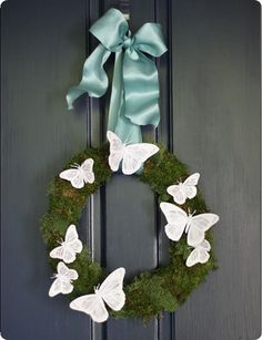 Butterfly and Moss Spring Wreath inspired by Pottery Barn