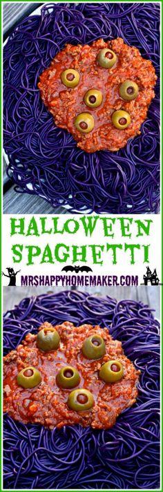 Halloween Spaghetti   MrsHappyHomemaker.com @thathousewife