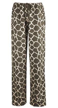 Leisureland Women's Cotton Flannel Lounge Pants Giraffe Print Vanilla: Amazon.com: Clothing