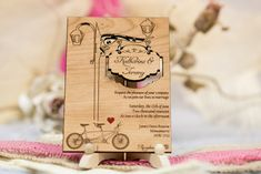 Unique tandem wood wedding invitations, Laser cut and personalized, with your information. Be unique with this beautiful and one of a kind invitations. I love them so much!!!:) * This listing is for tandem Wedding Invitation * This wood Wedding Invitations are laser cut and