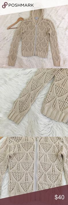 """🔥1 HR SALE🔥CAbi By the Sea Hooded Cardigan CAbi Women's Medium By the Sea Cardigan • Beige • Full Zip • Hooded • Open Knit • excellent condition no flaws  Length: 23"""" Armpit to armpit: 20""""  📌NO lowball offers 📌NO modeling 📌NO trades  I will try to respond to inquiries in a timely matter. Please check out the rest of my closet, I have various brands and ALL different sizes. Some new with tags, others in excellent condition😊 CAbi Sweaters Cardigans"""