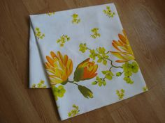 1960s Neon Orange and Yellow Tropical Flowers Border Print Cotton Fabric 2012409.
