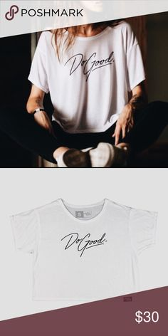 """'Do Good' Cropped Tee Spread positivity & Inspire yourself to reach your full potential in this sweet yet edgy """"Do Good"""" flowy, cropped tee. Styles perfectly as a workout tee with leggings or as the perfect companion to those high waisted denim shorts in your closet ⚡️*65% Polyester 35% Viscose l i t t l e t h i e f 's  boutique Tops Tees - Short Sleeve"""